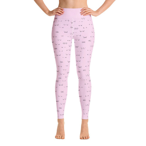 Boob Yoga Leggings/ Lounge Pants/Working From Home/Boob Pink Print/Cozy Leggings/Comfort Pants/Feminist Gift/Lesbian Birthday