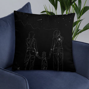 Lesbian Family Galaxy Pillow/Night Sky Star Gazing/Baby Shower Gift/Lesbian Pregnancy/2 moms/Two Moms Gift/Mother's Day Present