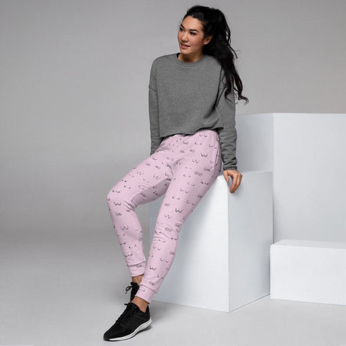 Boob Women's Joggers/Lounge Pants/Working From Home/Boob Pink Print/Cozy Leggings/Comfort Pants/Feminist Gift/Lesbian Birthday