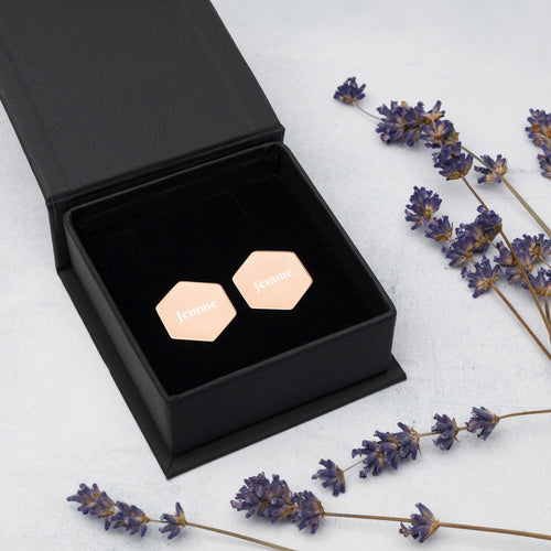 Femme Sterling Silver Hexagon Stud Earrings/Rose Gold/Lesbian Artwork/Valentine/Wedding/Two Brides/Love Art/LGBTQ Pride Gay