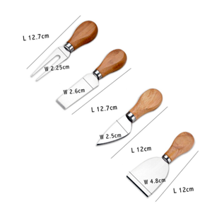 FREE JUST PAY SHIPPING. 4pcs Knife Set (Bamboo, Oak Handle) for  Cheese. Useful Accessories