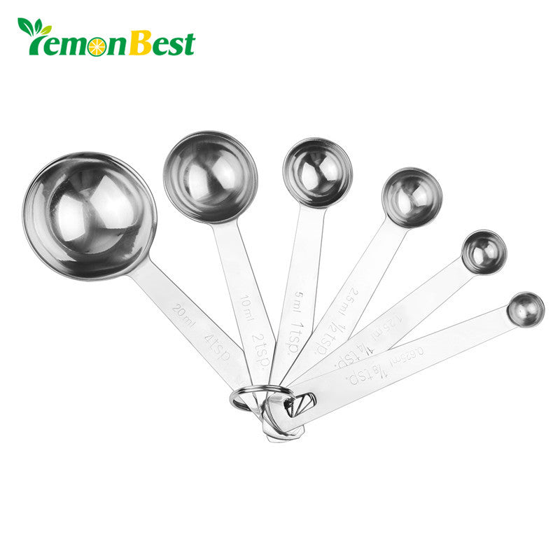 LemonBest 6pcs Stainless Steel Measuring Spoons Cups Measuring Set Tools For Baking Coffee 6 sizes Spoons Baking Cooking Tools