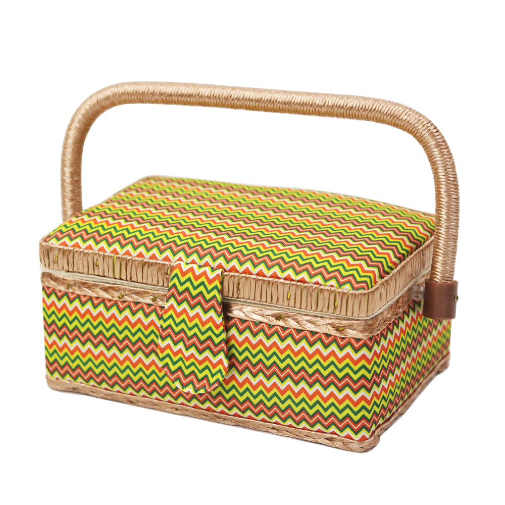 Stripe Pattern Wooden Storage Basket