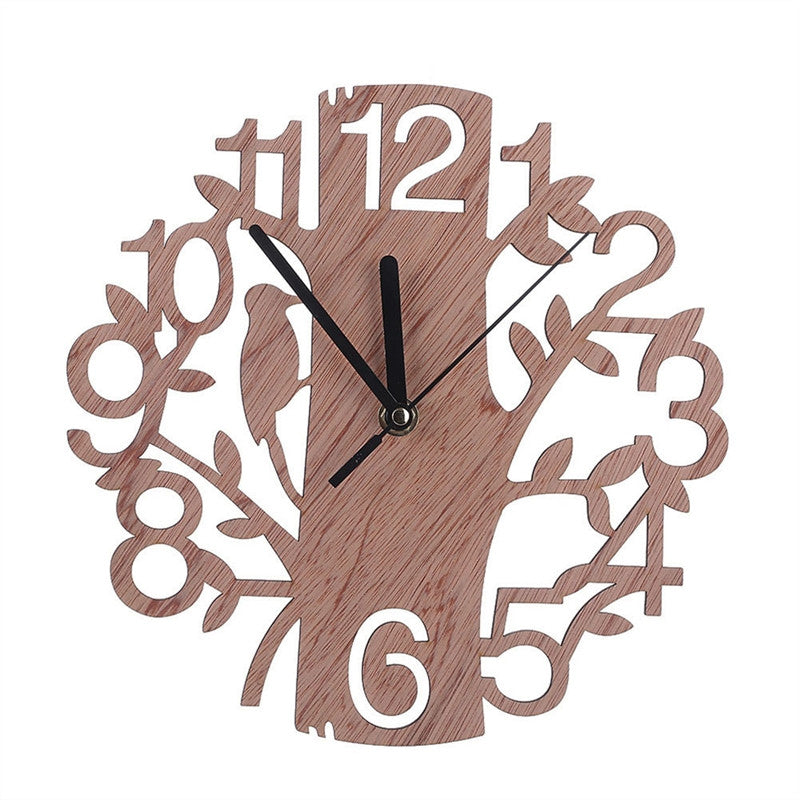 Tree Shaped Wooden Wall Clock