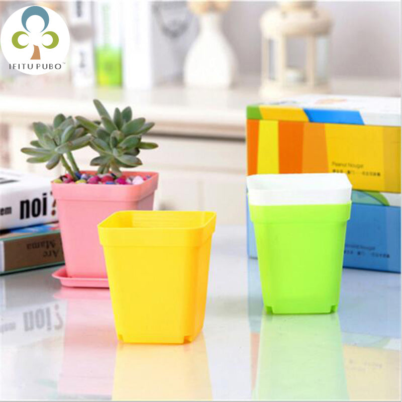 10pcs Colorful plastic flower pots square flower plate plant pots creative home lazy flower supplies LYQ