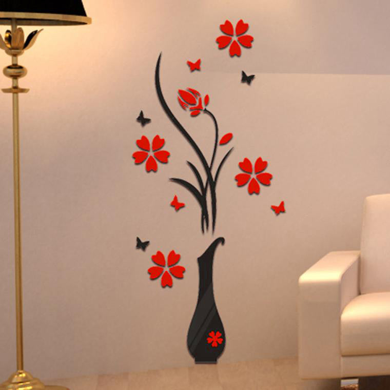 Vase Flower Tree Crystal Arcylic 3D Wall Stickers