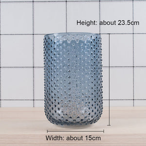 Bead style blue glass vase