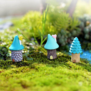 1 PC Mini Colorful Resin House Trees