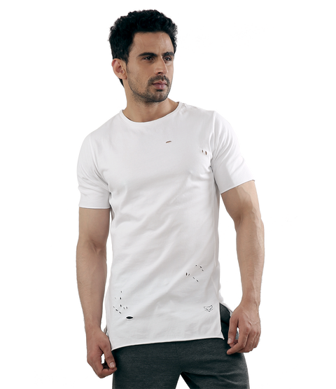 Ripped White LongLine T-Shirt - WOLFPACK