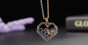 Heart Honeycomb Bee Charm Fashion Silver Necklace - Emporium Galore