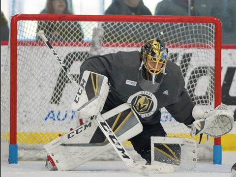 Vegas Golden Knights goaltender Marc Andre Fleury keeping things anchored down during practice @ Vegas Golden Knights practice facility.