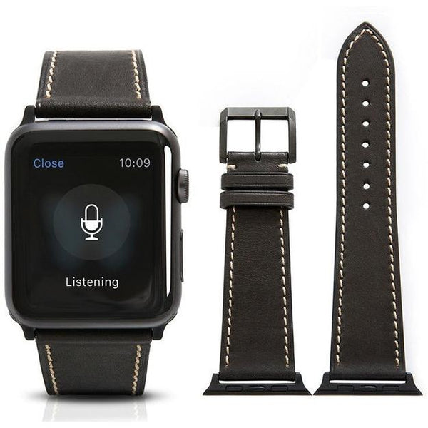 Black French Calf Leather Apple Watch Band