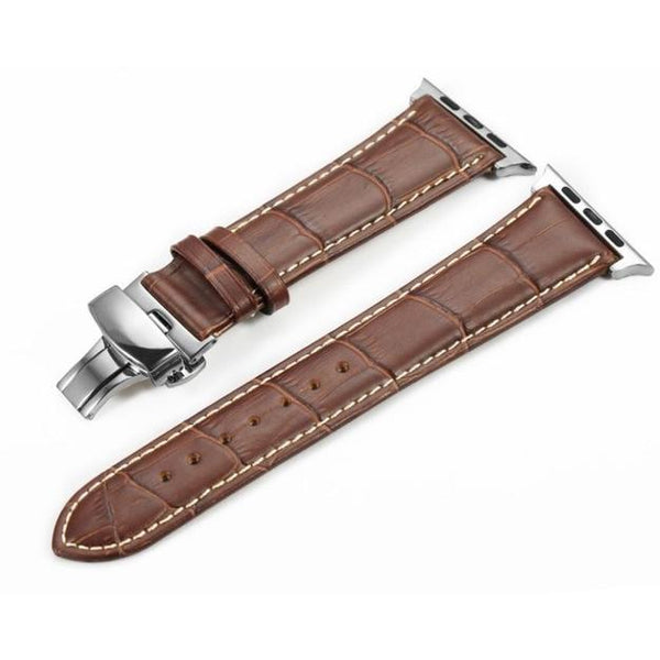 Italian Calf Leather Deployant Clasp Apple Watch Bands