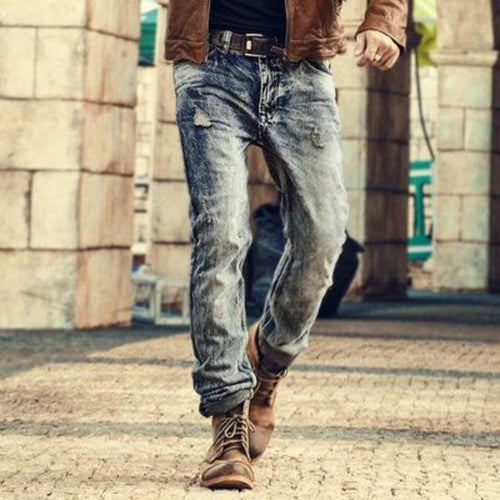 Men's Washed Out Vintage Style Boot Cut Jeans