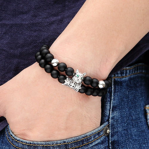 Men's Zircon Style Beaded Wolf Head Bracelet