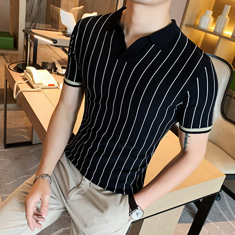 Men's Short Sleeve Pin Stripped Polo