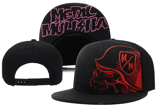 Men's Red Print Metal Mulisha Skull Cap