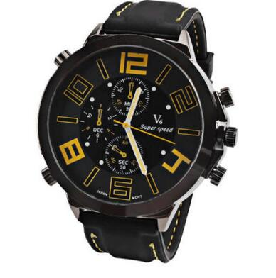 Men's Dual Display Leather Banded Watch