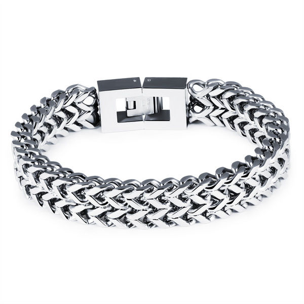 Men's Thick Banded Double Linked Steel Bracelet