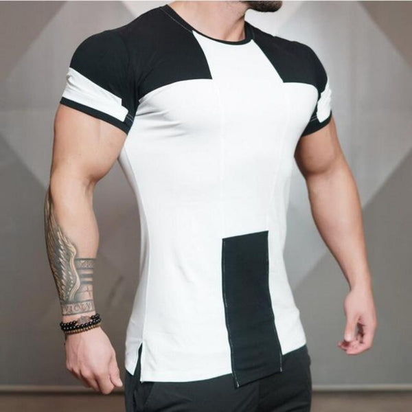 Men's Geometric Style Slim Fit Gym Tee