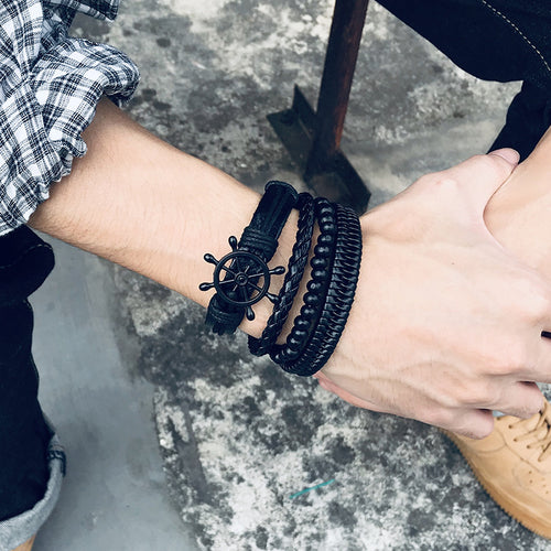 Men's Retro Style Rudder & Beads Woven Bracelet