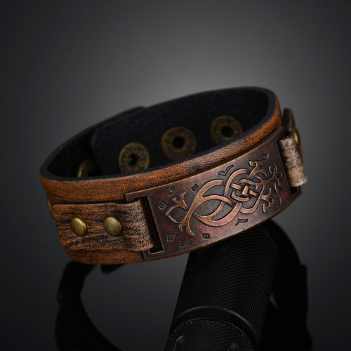 Men's Broad Strap Designed Leather Wristband