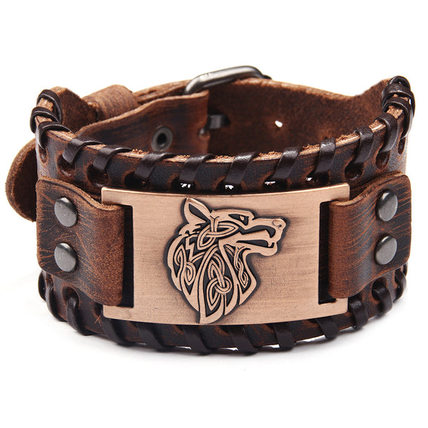 Men's Alloy Plated Wolf Head Wristband