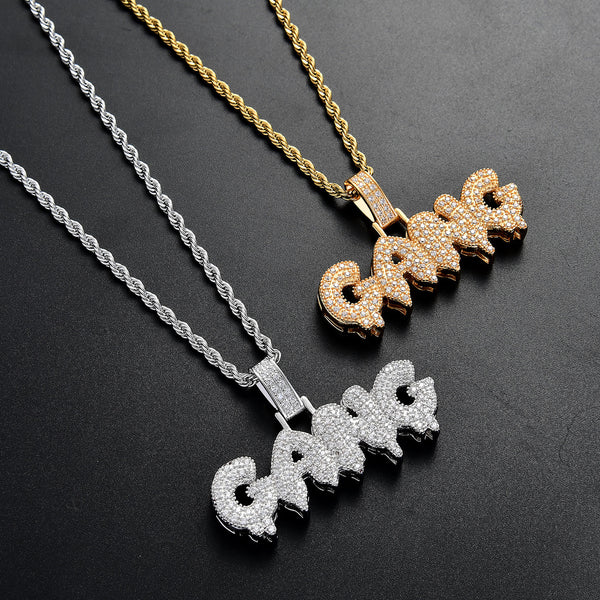 Men's Gem Crusted Gang Lettered Pendant Only