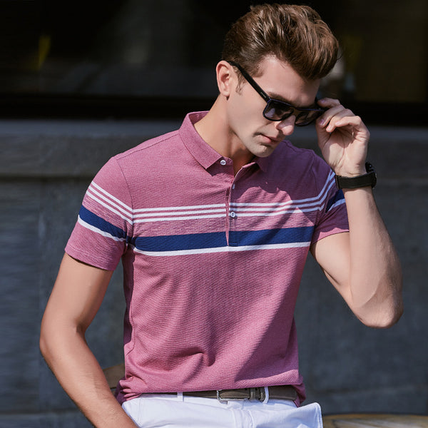 Men's Semi Striped Lapel Polo