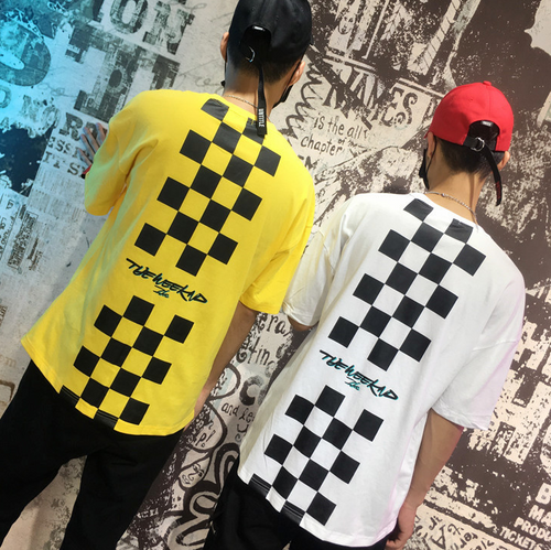 Men's Short Sleeve Checkered Design Tee