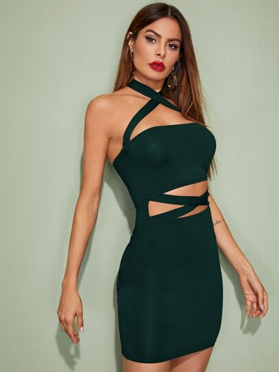 Women's Sultry Bandage Cut Out Halter Neck Bodycon Dress - Erbana 88