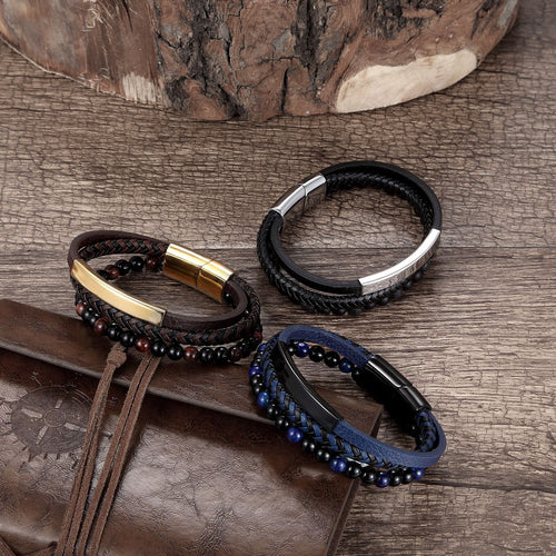 Men's Woven & Beaded Leather Bracelet