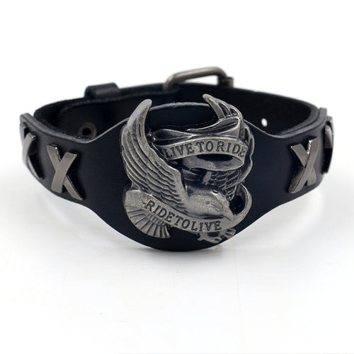 Men's Punk Style 'Live to Ride' Stainless Steel Wristband