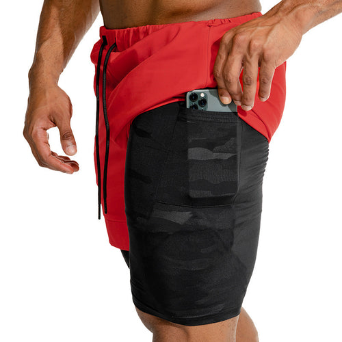 Men's Dual Lining Workout Shorts w/ Hidden Pocket