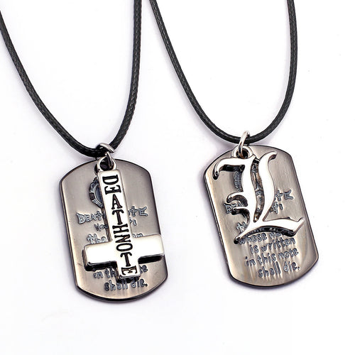 Men's DEATH NOTE Dog Tag Styled Necklace