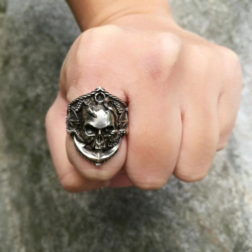 Men's Gothic Style Shrunken Skull Ring