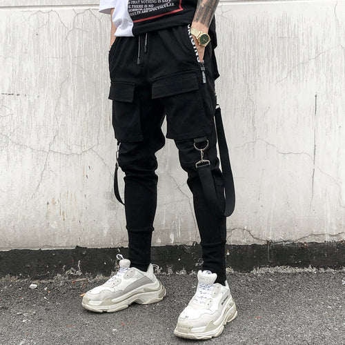 Men's Gothic Style Harness & Buckle Cuffed Cargo Pants