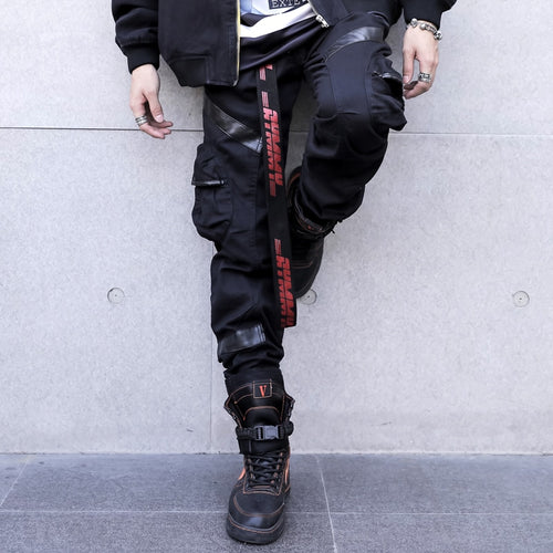 Men's Cargo Pants w/ Leather Finish