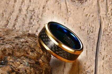 Men's Classic Lined Steel Ring