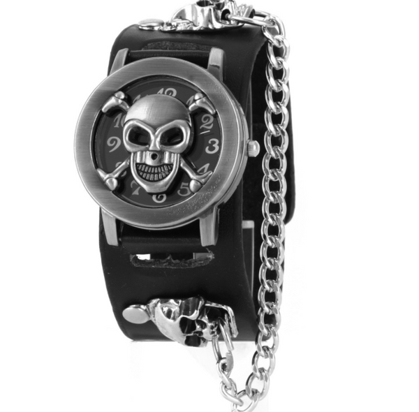 Men's Gothic Skull Watch w/ Chain