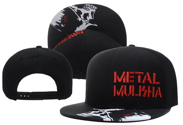 Men's Red & White Print Metal Mulisha Skull Cap