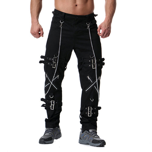 Men's Distressed Zip & Buckle Gothic Cargo Pants