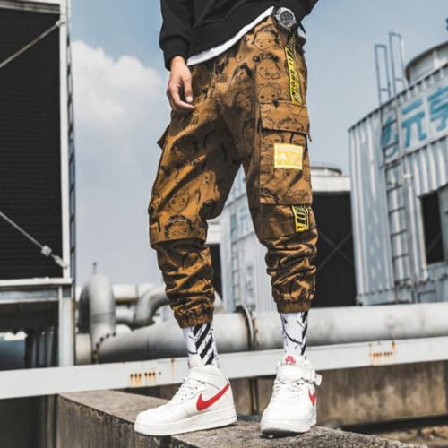 Men's Cuffed Bottom Printed Cargo Pants