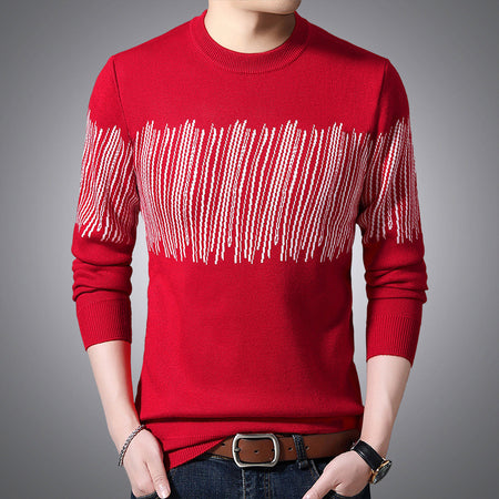 Men's Round Neck Geometric Sweater