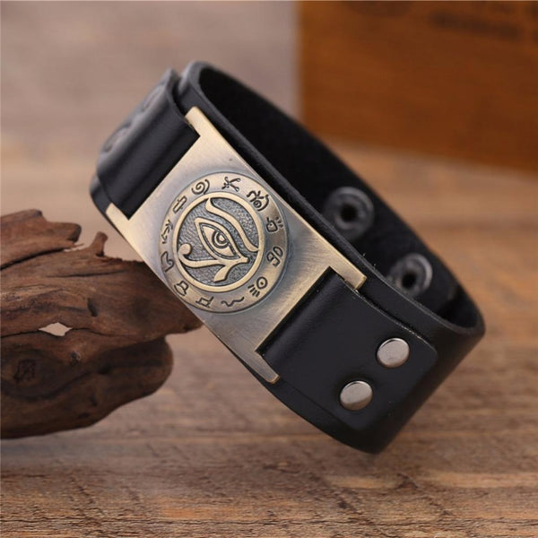 Men's Bronze Plated Eye of Horus Leather Wristband