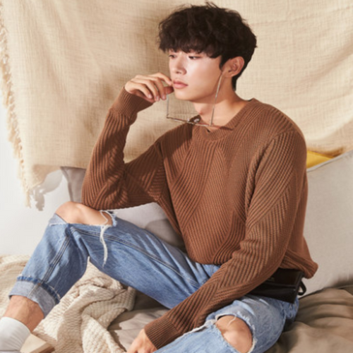 Men's High or Round Collar Sweater