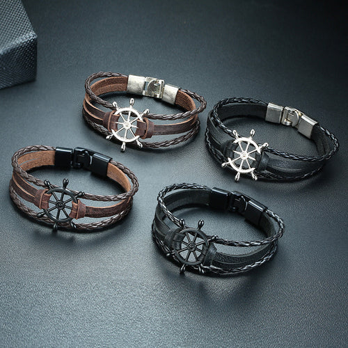 Men's Assorted Braided Leather Bracelet