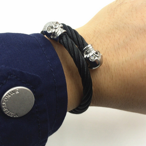 Men's Retro Double Coiled Skull Wristband