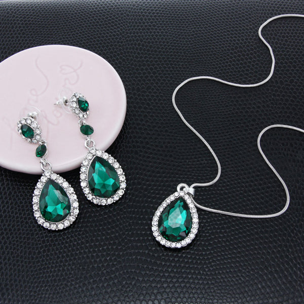 Women's Elegant Rhinestone Style Earring & Necklace Set