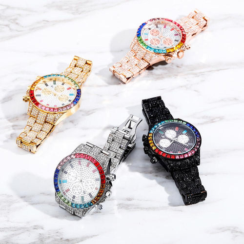 Men's Blinged Out Multi-Dial Watch